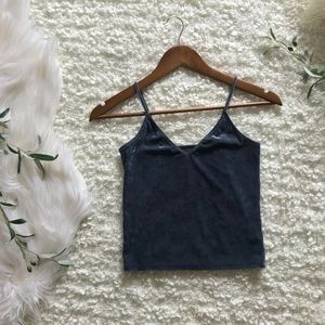 American Eagle XS Blue-Gray Velvet Crop Cami